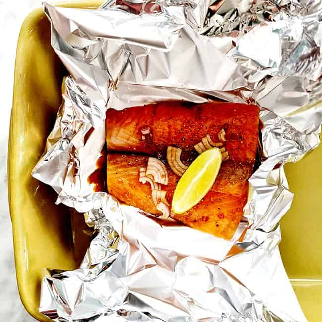 Zalm uit de oven met honing en soja