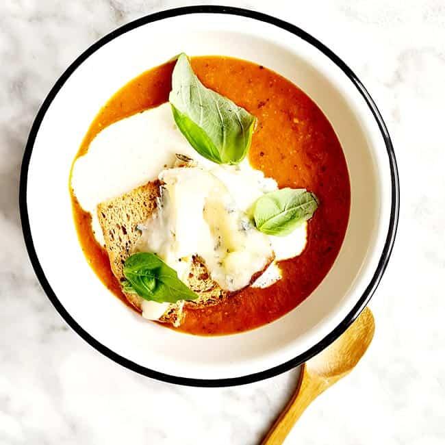 Tomatensoep gorgonzola toast