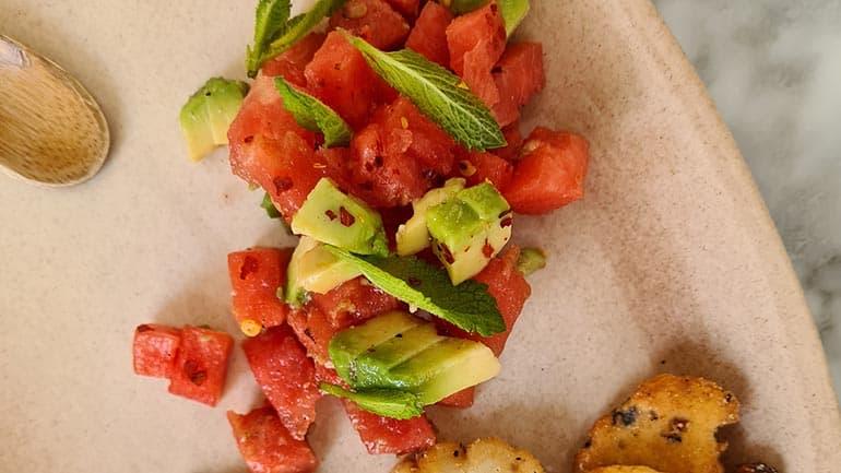 Tartaar watermeloen met sojadressing